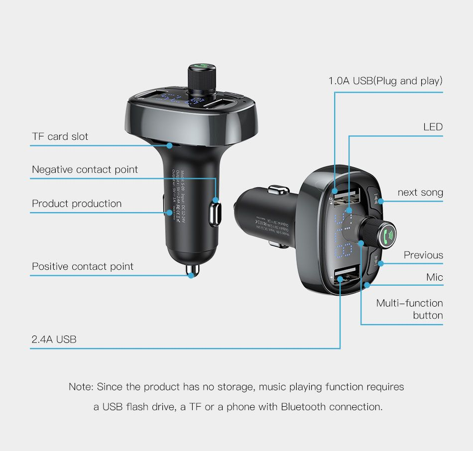 Baseus S 09 T Typed Dual Usb Bluetooth Mp3 Car Charger (11)