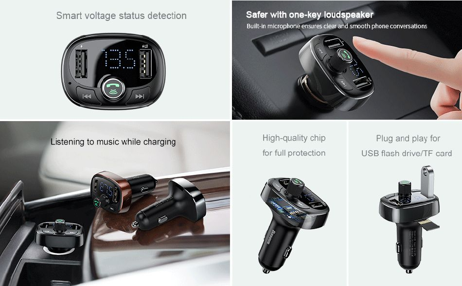 Baseus S 09 T Typed Dual Usb Bluetooth Mp3 Car Charger (2)
