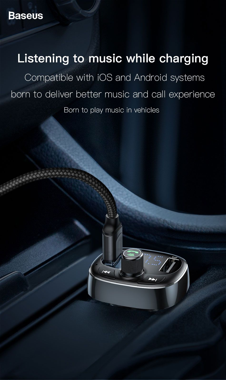 Baseus S 09 T Typed Dual Usb Bluetooth Mp3 Car Charger (3)