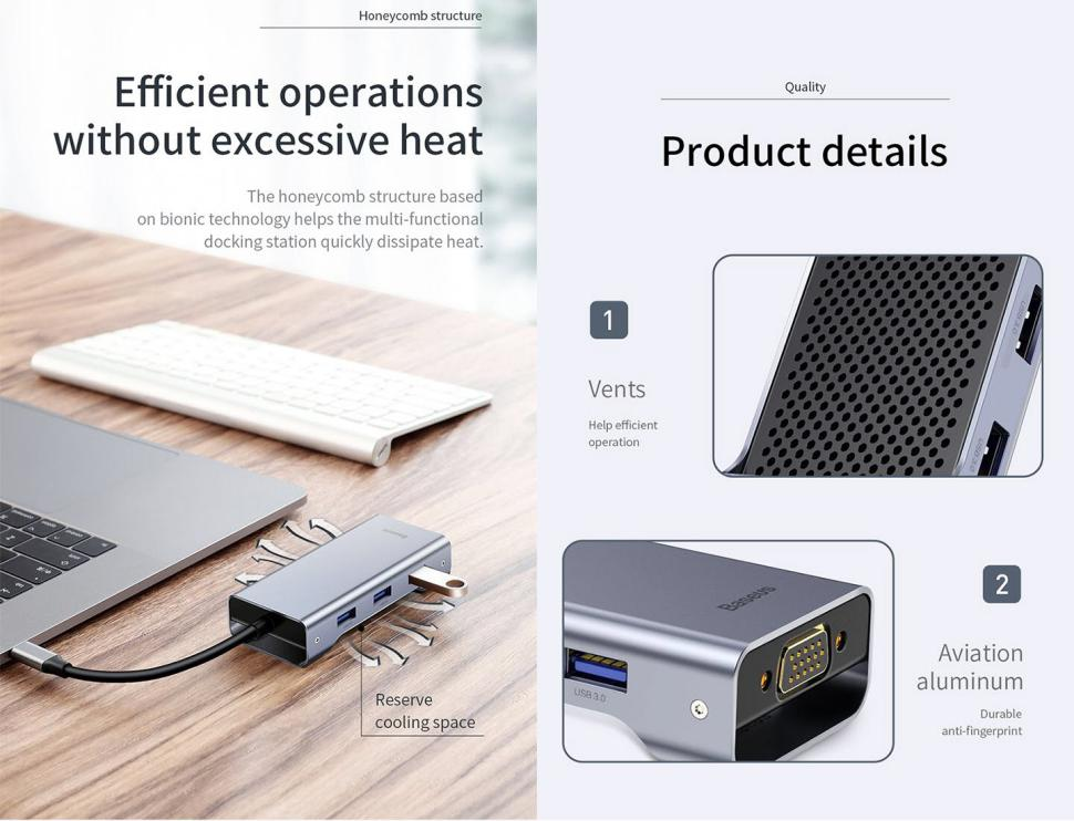 Baseus Square Desk 7 In 1 Type C Multi Functional Hub (4)