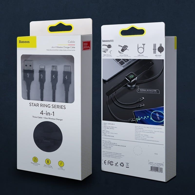 Baseus Star Ring Series 4 In 1 Usb Cable With Wireless Charger (2)