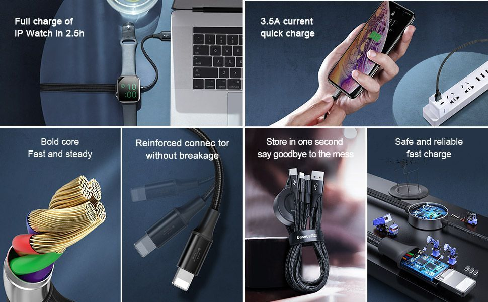Baseus Star Ring Series 4 In 1 Usb Cable With Wireless Charger (3)
