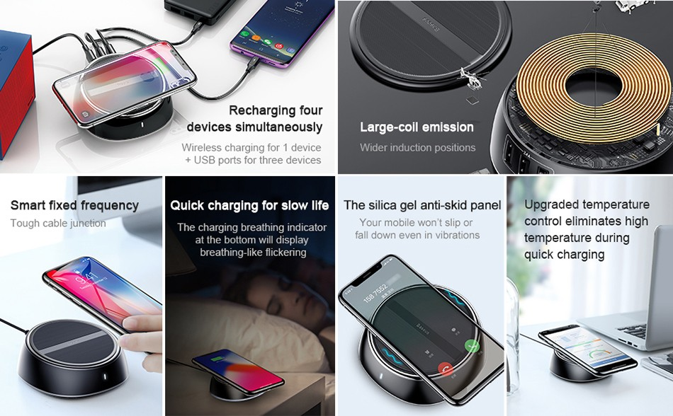 Baseus Star Sky 2 In 1 Desktop Wired 3 Usb Ports Wireless Charger (2)