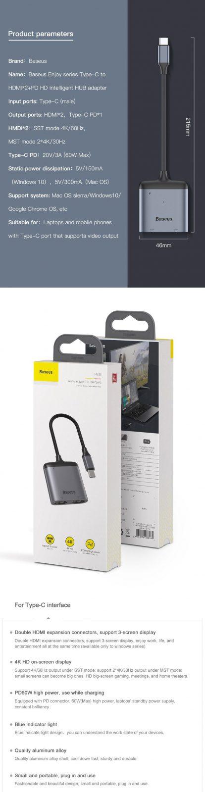 Baseus Usb C Type C To Hdmi X 2 Pd Hd Intelligent Hub Adapter (16)