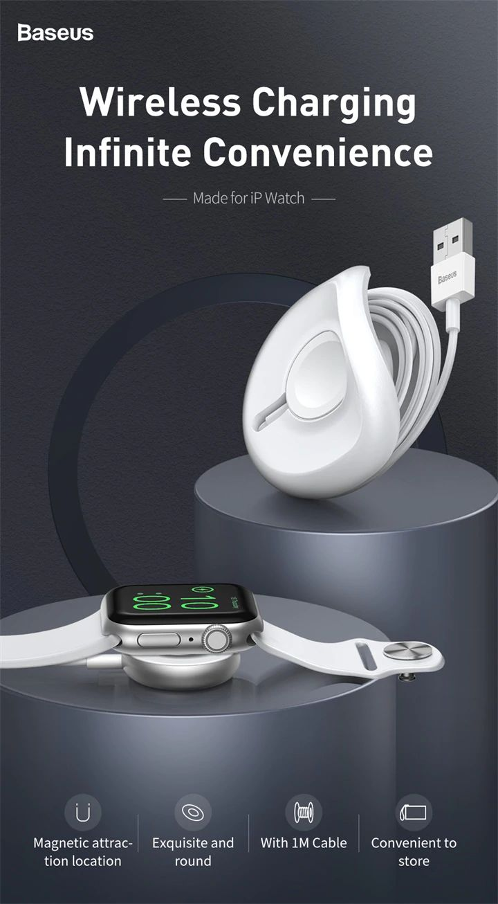 Baseus Yoyo Wireless Charger For Apple Watch Series 4 3 2 With 1m Usb Cable (12)