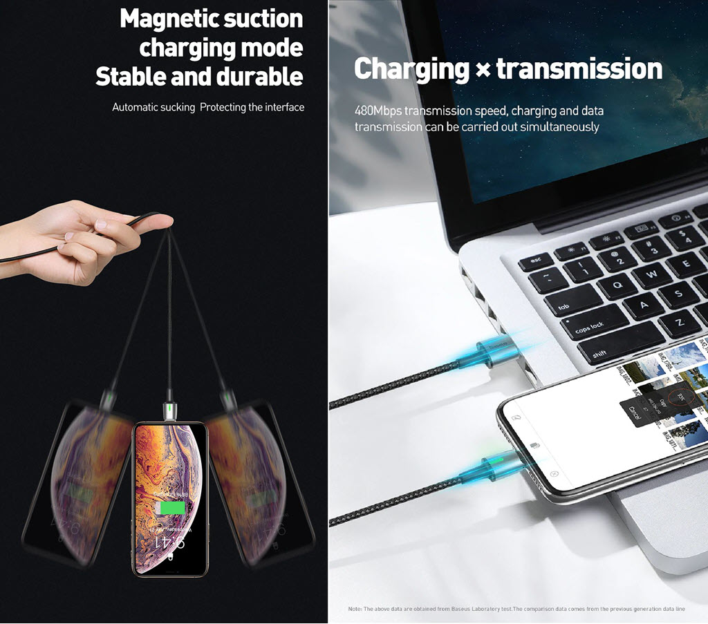 Baseus Zinc Magnetic Usb Cable For Type C Micro Lightning (1)