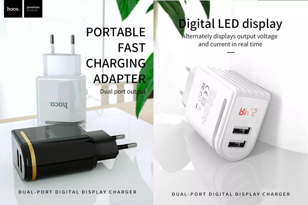 Hoco C39a Dual Usb Ports Power Adapter With Digital Display (1)