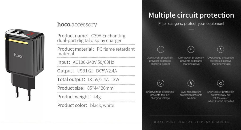 Hoco C39a Dual Usb Ports Power Adapter With Digital Display (3)