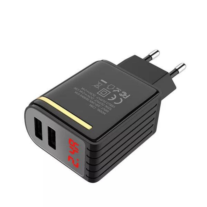 Hoco C39a Dual Usb Ports Power Adapter With Digital Display (8)