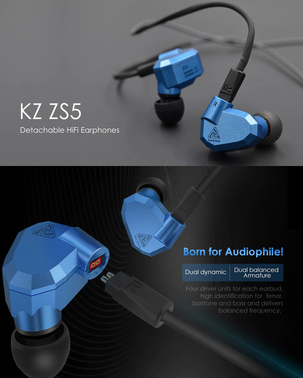 Kz Zs5 2dd2ba Hybrid In Ear Earphones (4)
