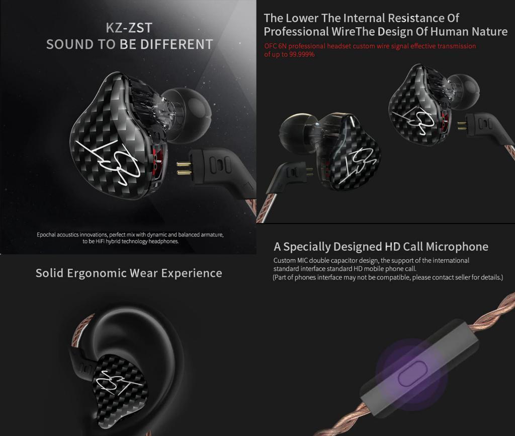 Kz Zst Hybrid Dual Driver In Ear Earphones (2)