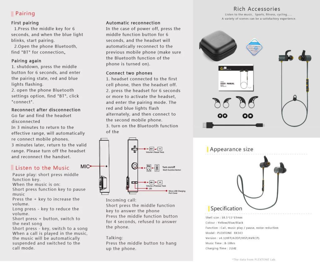 Plextone Bx343 Ipx5 Waterproof Magnetic Wireless Earphones (5)