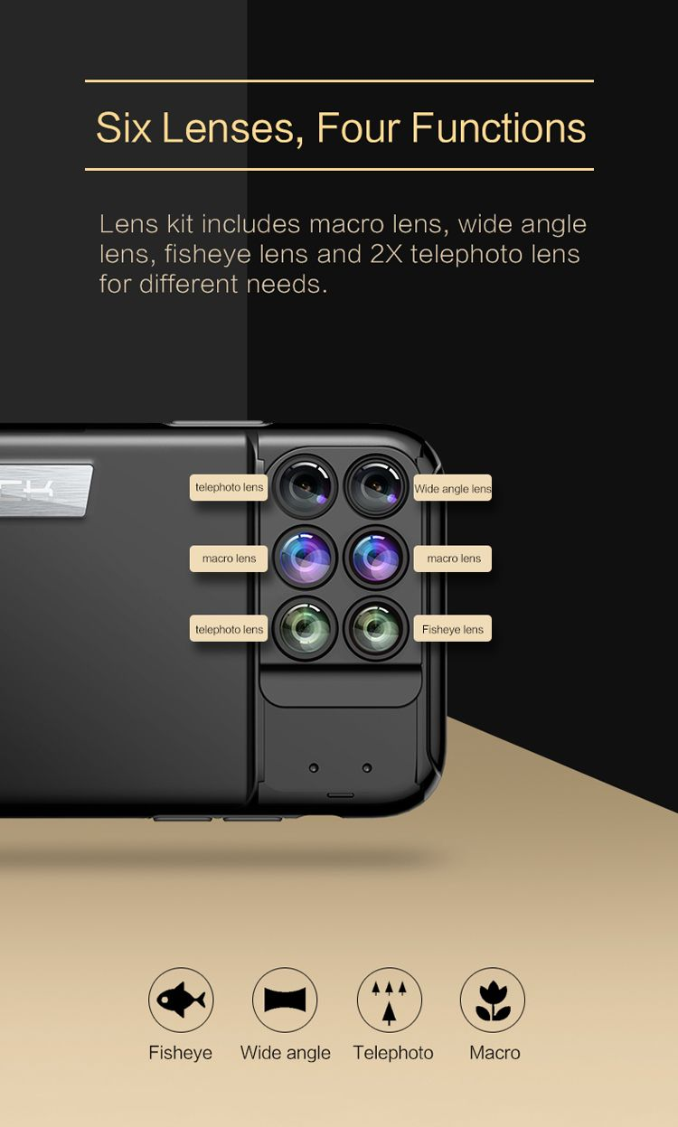 Rock 6 In 1 Camera Lens Kit Case For Iphone (6)
