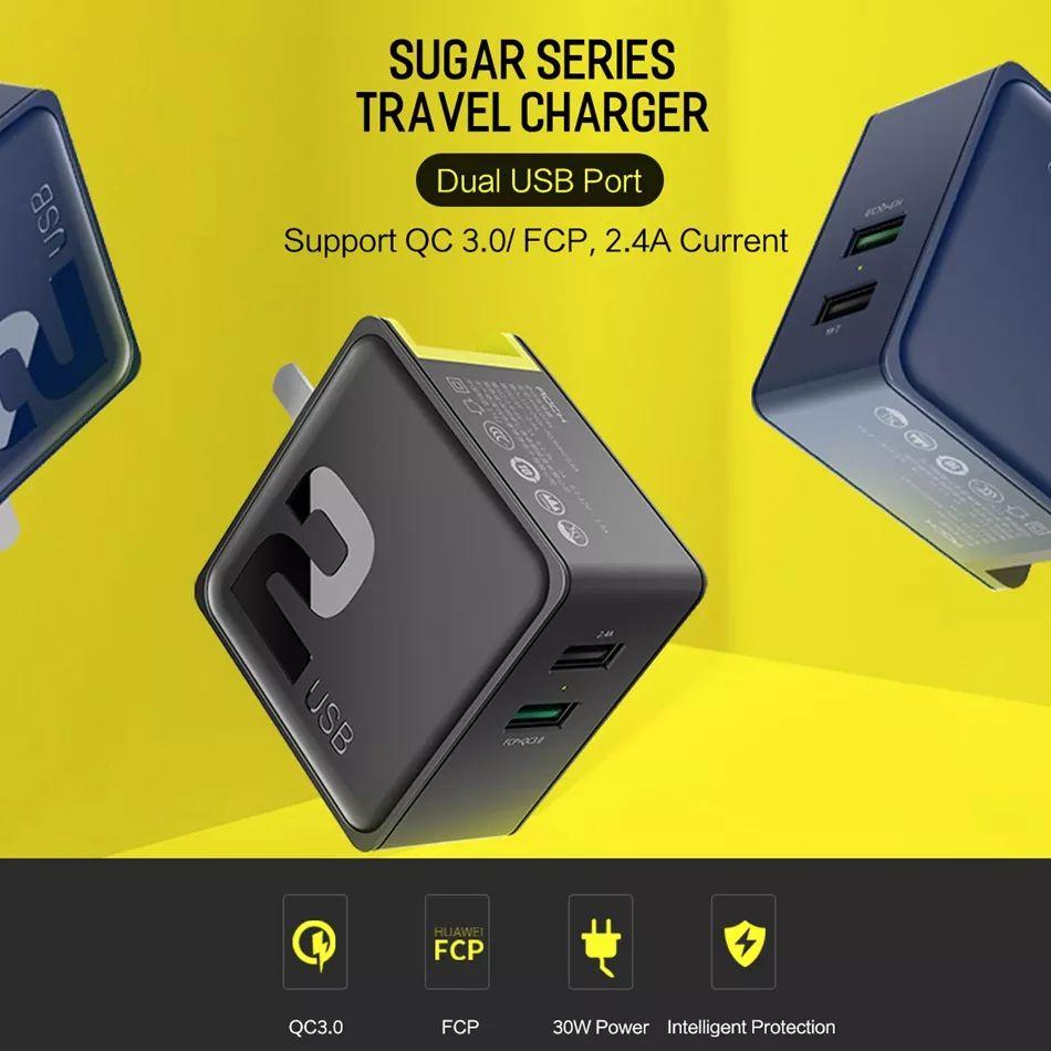 Rock Sugar 30w Qc3 0 Dual Usb Ports Fast Charger (5)