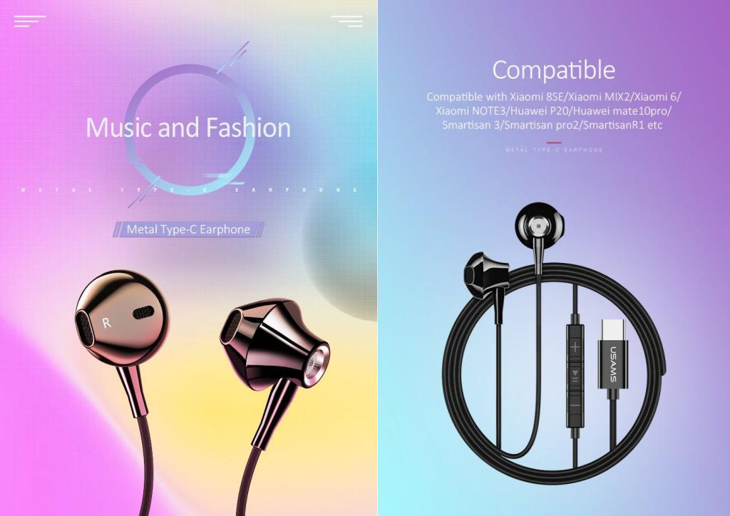 Usams Ep 25 Metal Type C Earphones (3)