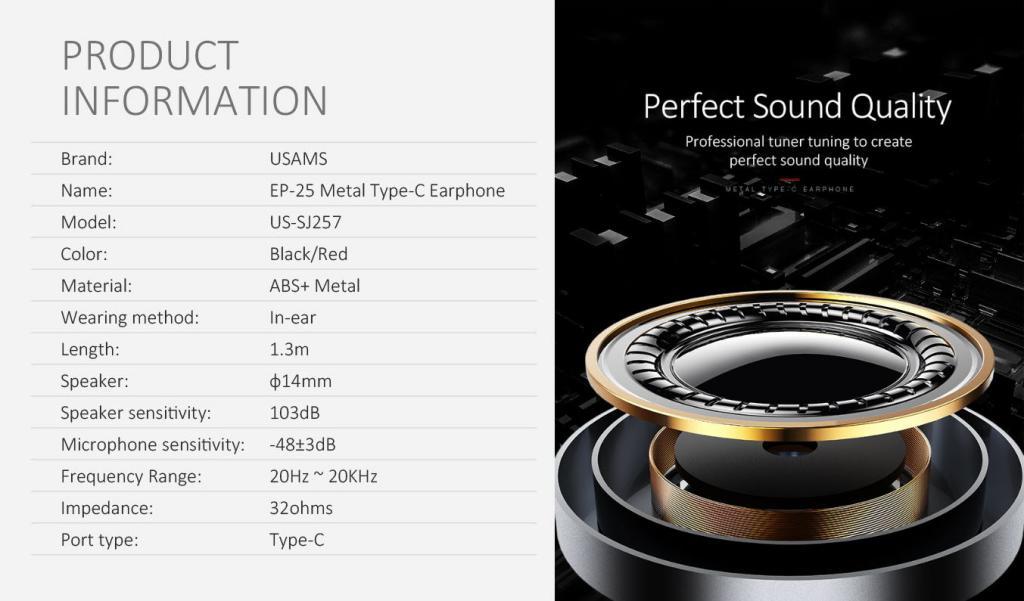Usams Ep 25 Metal Type C Earphones (7)