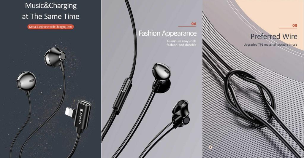 Usams Us Sj295 Ep 32 Lighting Earphones With Charging Port For Iphone (1)