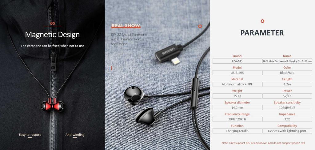 Usams Us Sj295 Ep 32 Lighting Earphones With Charging Port For Iphone (4)