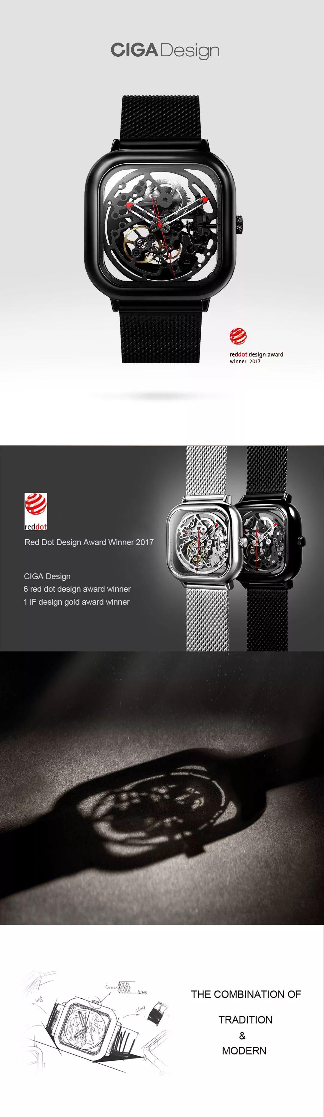 Xiaomi Ciga Wristwatch Hollow Mechanical Stainless Steel Mens Watch (1)