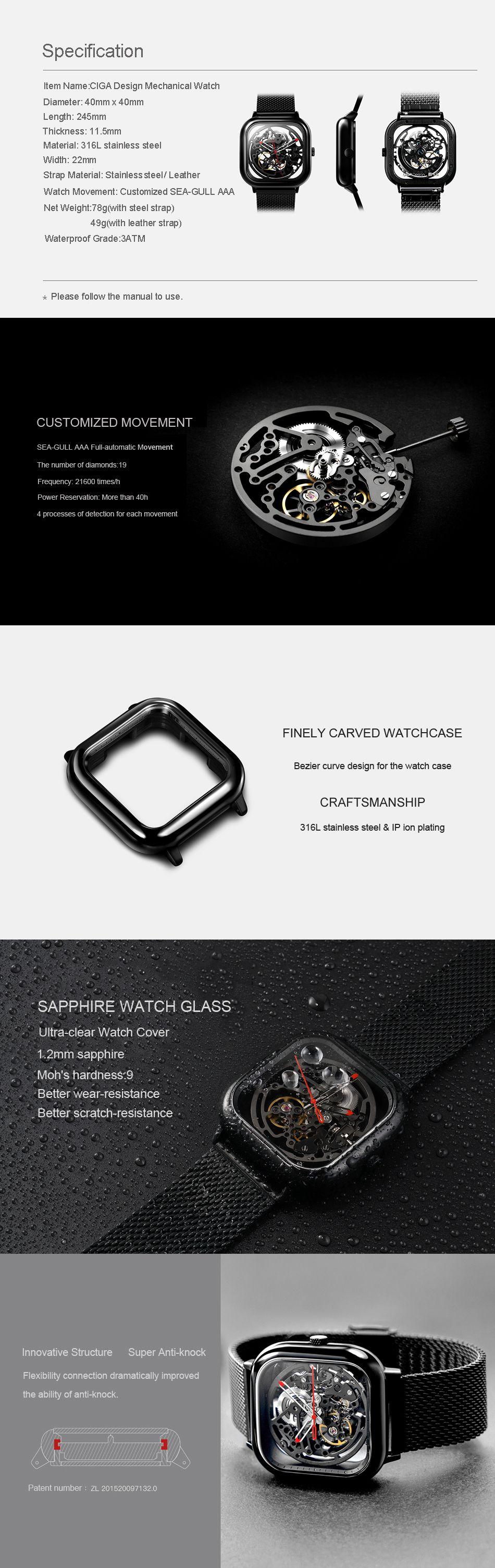 Xiaomi Ciga Wristwatch Hollow Mechanical Stainless Steel Mens Watch (5)