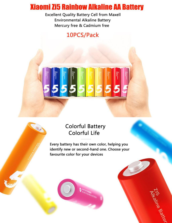 Xiaomi Zi5 Rainbow 1 5v Aa Alkaline Battery Set 10pcs (1)