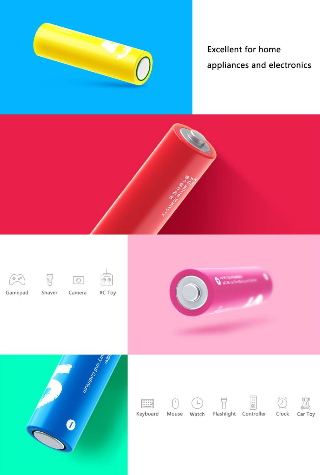 Xiaomi Zi5 Rainbow 1 5v Aa Alkaline Battery Set 10pcs (4)