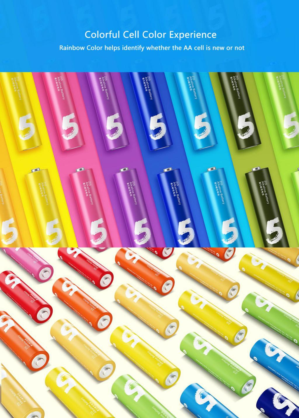 Xiaomi Zi5 Rainbow 1 5v Aa Alkaline Battery Set 10pcs (5)