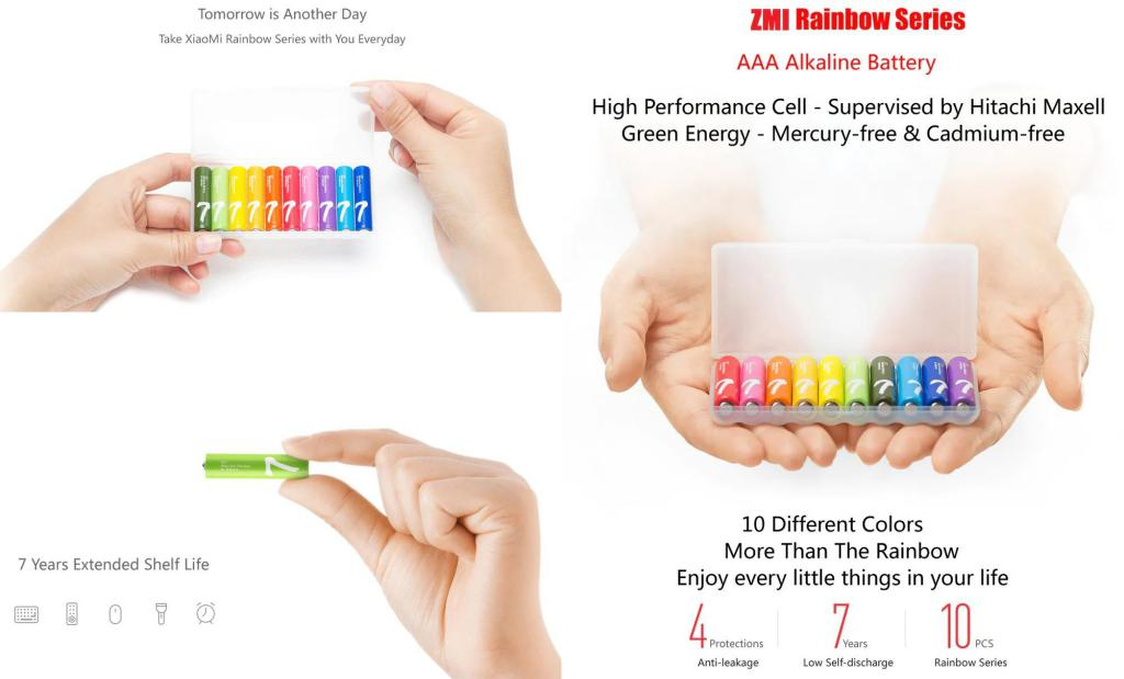Xiaomi Zmi Rainbow Aaa Alkaline Battery Set 10 Pcs (1)