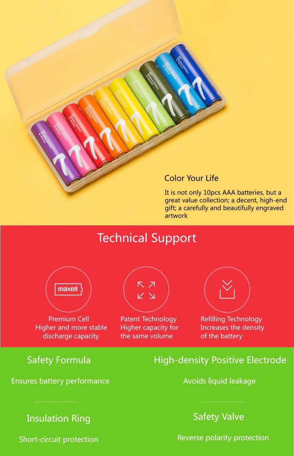 Xiaomi Zmi Rainbow Aaa Alkaline Battery Set 10 Pcs (3)