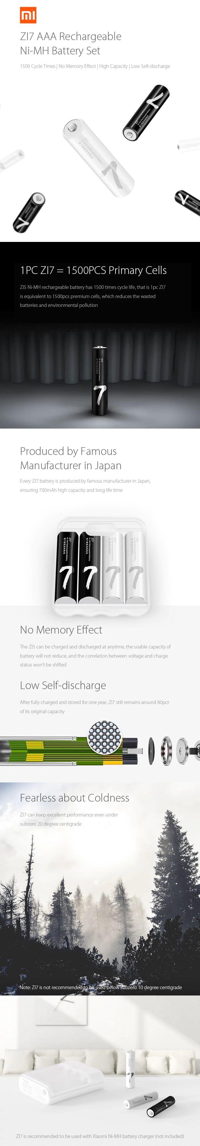Xiaomi Zmi Zi7 Ni Mh Aaa Rechargeable Batteries 4 Pcs