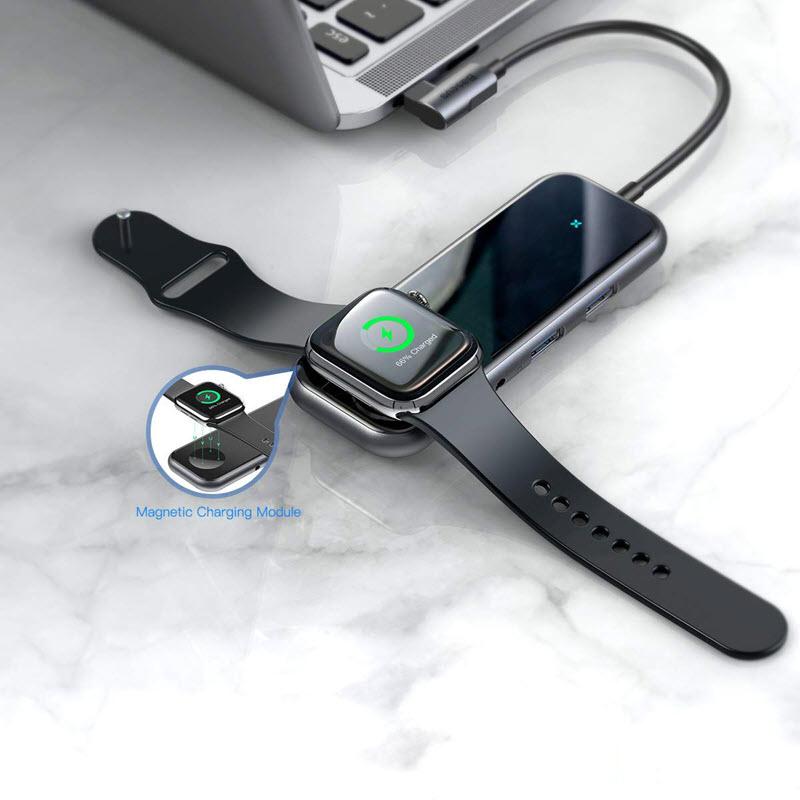 Baseus 6 In 1 Usb C Hub Usb C To Iwatch Wireless Charger Hub (1)