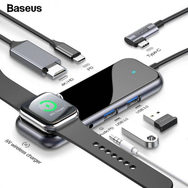 Baseus 6 In 1 Usb C Hub Usb C To Iwatch Wireless Charger Hub