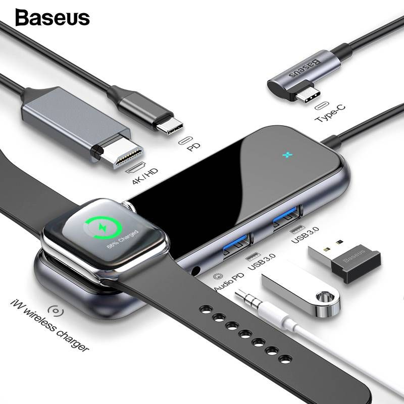 Baseus 6 In 1 Usb C Hub Usb C To Iwatch Wireless Charger Hub