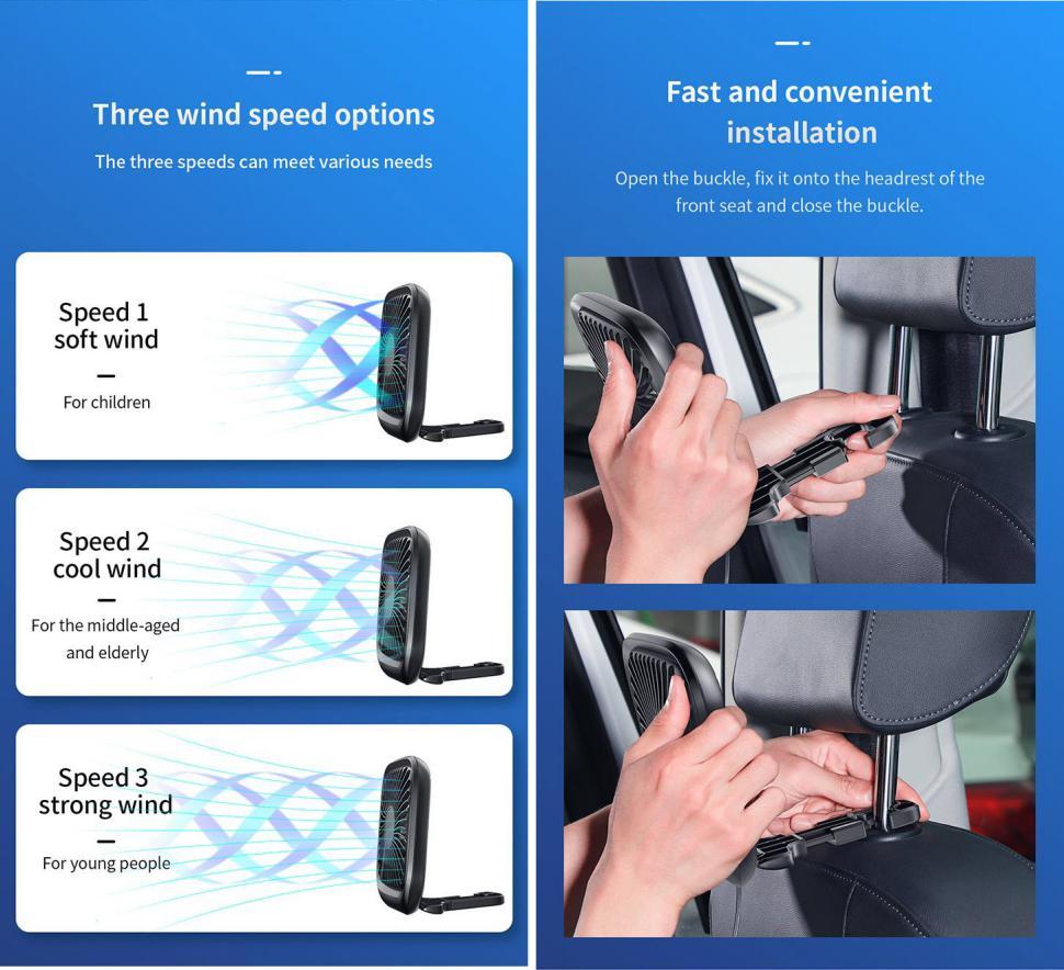 Baseus Foldable Vehicle Mounted Backseat Fan (2)