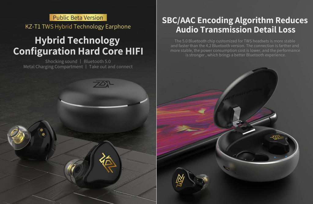 Kz T1 Tws Wireless Touch Control Earphones (6)