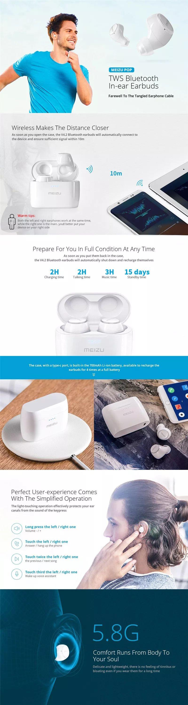 Meizu Pop Tw50 True Wireless Dual Bluetooth Earphones (4)