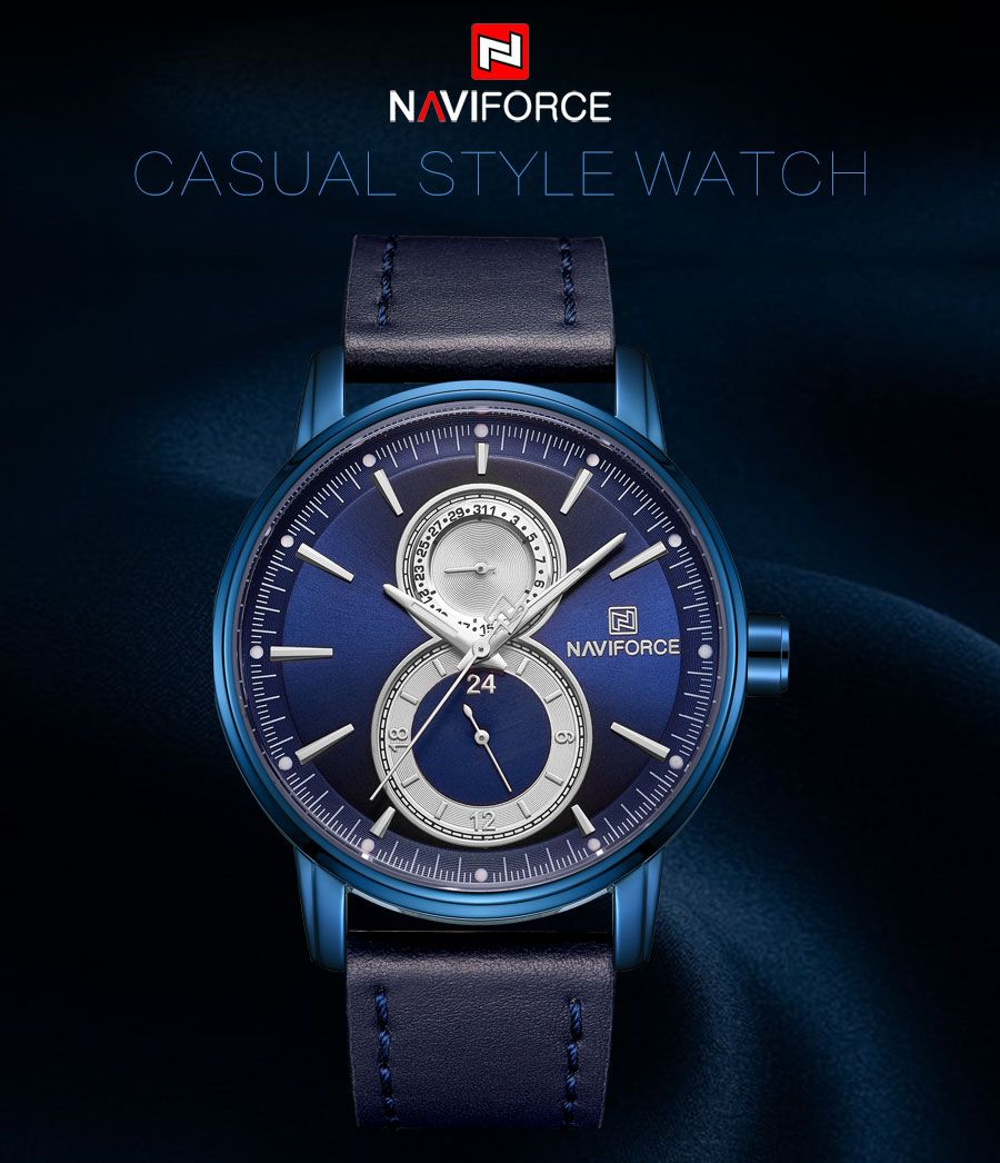 Naviforce 3005 Leather Strap Watch (5)