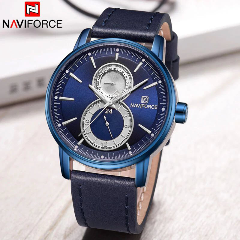 Naviforce 3005 Leather Strap Watch (6)