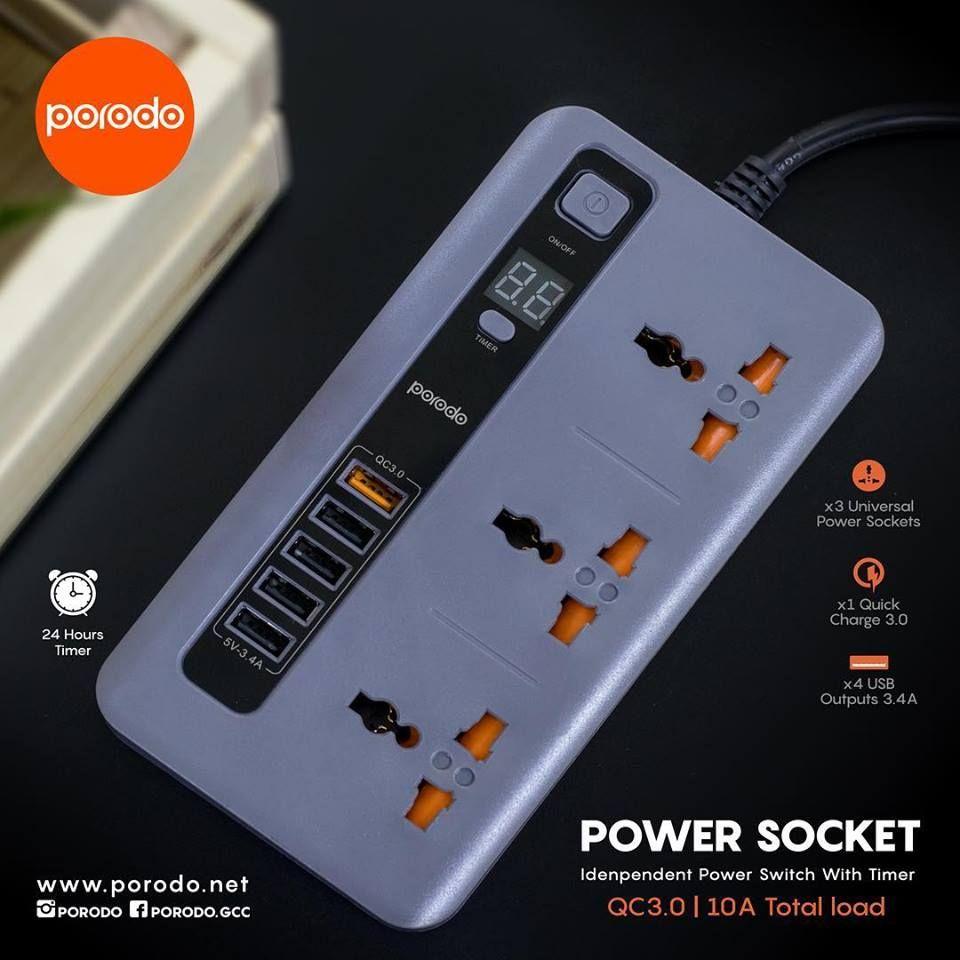 Porodo 4 Usb Port Qc 3 Power Sockets 10a (3)