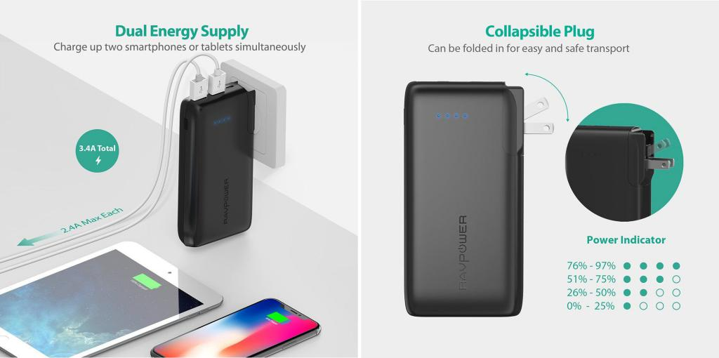 Ravpower Savior Series 10050mah Portable Charger With 2 In 1 Ac Plug (5)