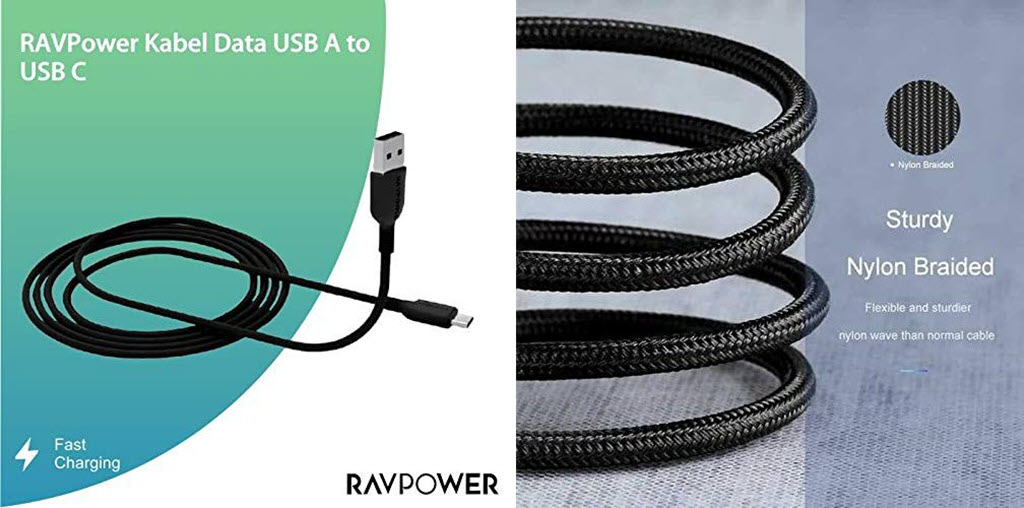 Ravpower Usb A To Micro Usb Nylon Yarn Braided Cable 3ft 1m Rp Cb016 (2)