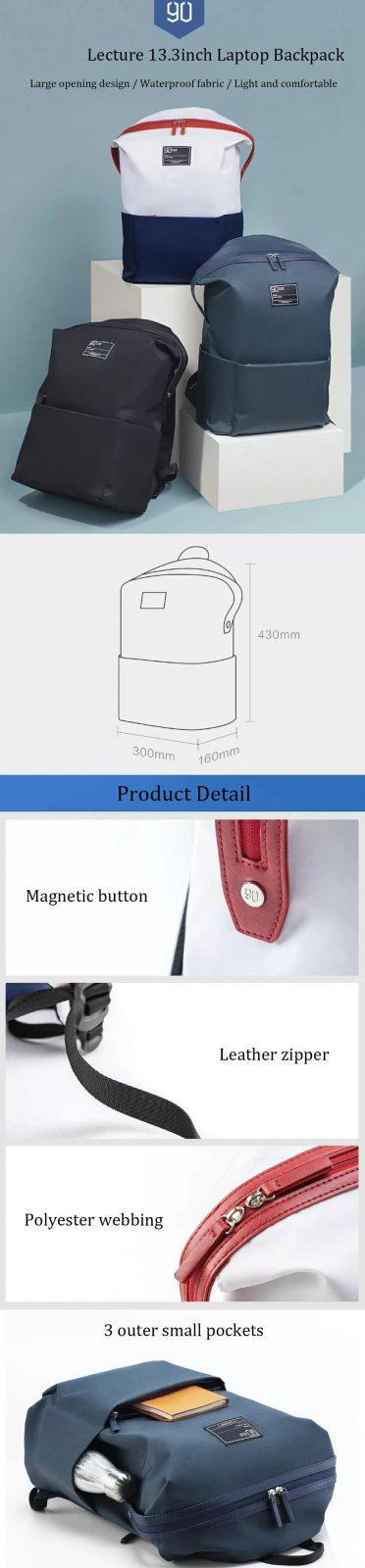 Xiaomi 90 Fun Lecturer Leisure Nylon Waterproof Backpack (2)