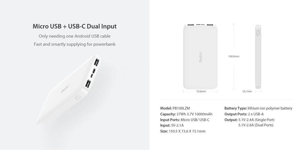 Xiaomi Redmi 10000mah Dual Output Input Powerbank (2)