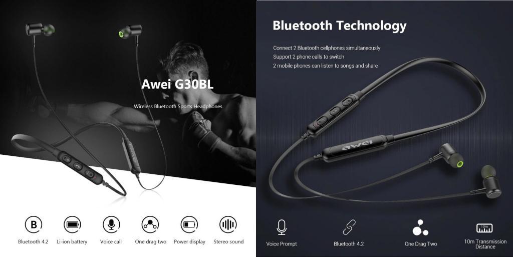 Awei G30bl Wireless Bluetooth 4 2 Neckband Headphones (5)