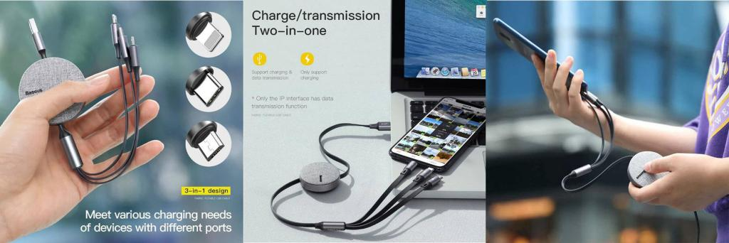 Baseus Fabric 3 In 1 Flexible Usb Cable (4)