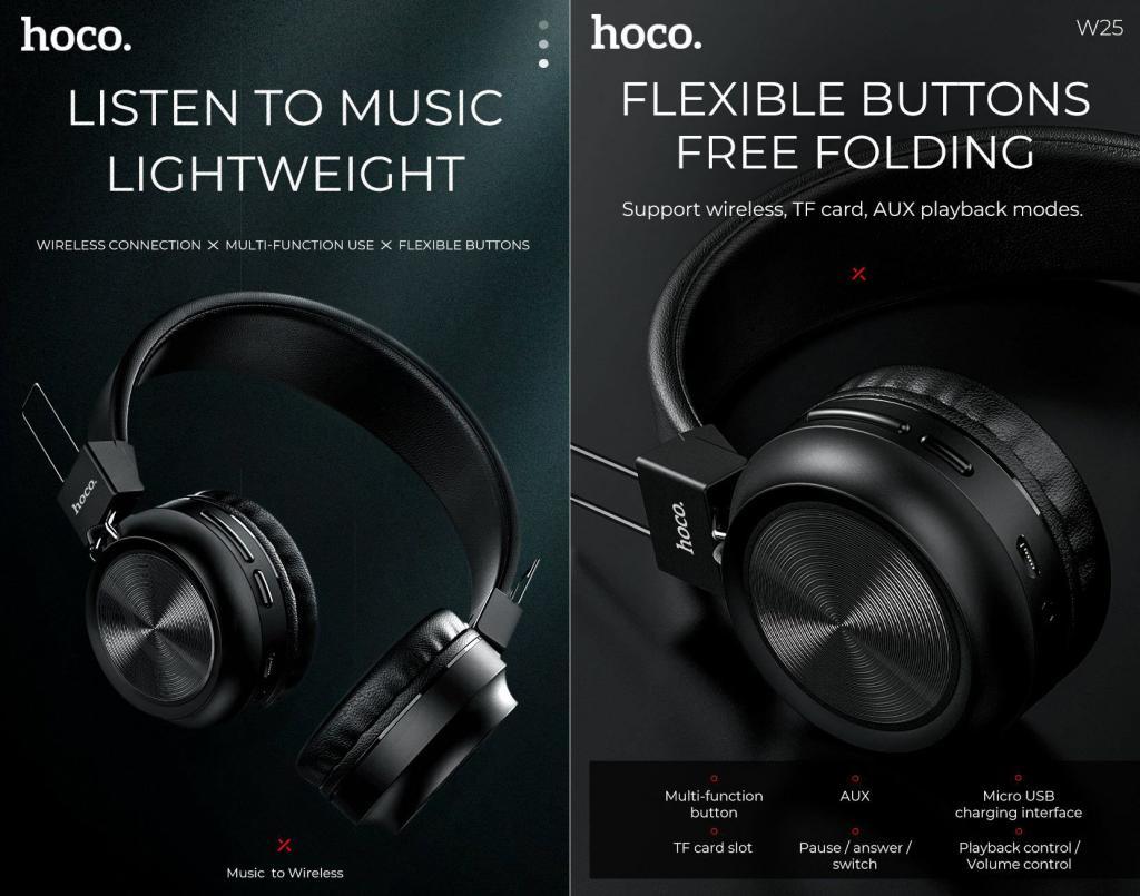 Hoco W25 Wireless Headphones With Mic (5)