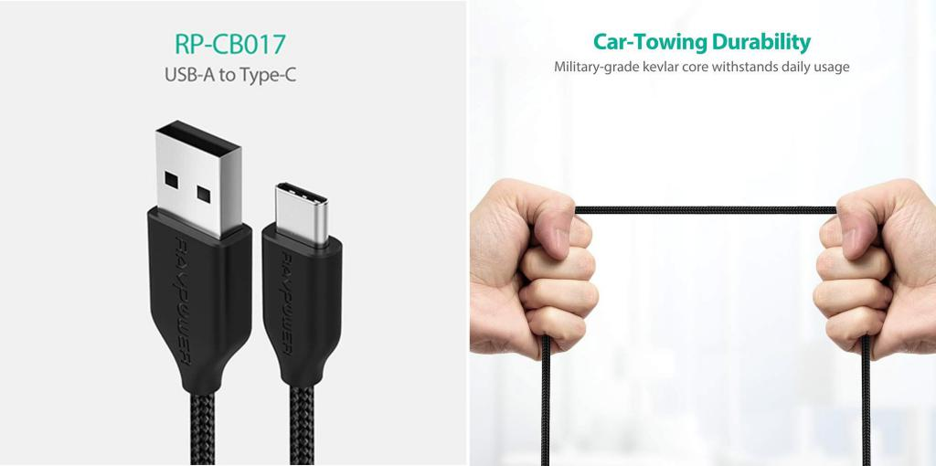 Ravpower Usb A To C Nylon Braided Cable 3ft 1m (2)