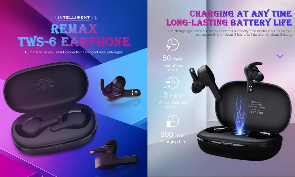 Remax Tws 6 Binaural Bluetooth Earbuds (4)