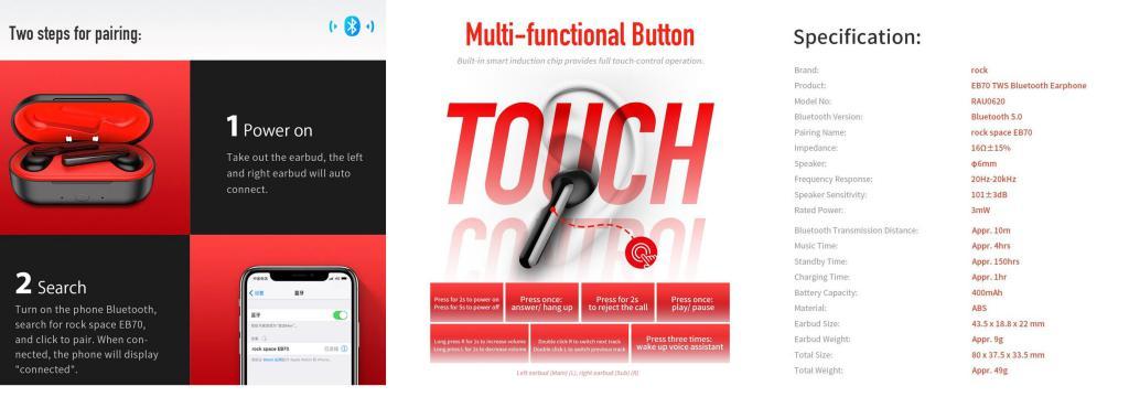 Rock Eb70 Tws Bluetooth Waterproof Wireless Earphones (1)