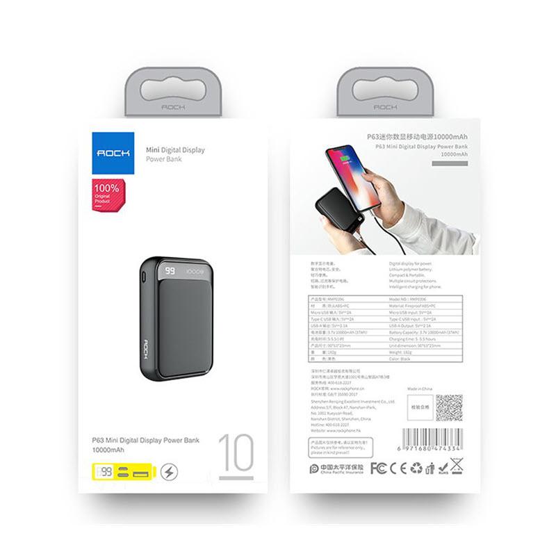 Rock P63 Mini Power Bank 10000mah With Digital Display (9)